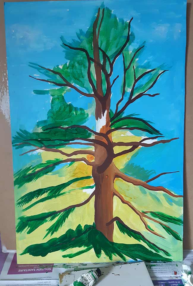 árbol cedro pintura