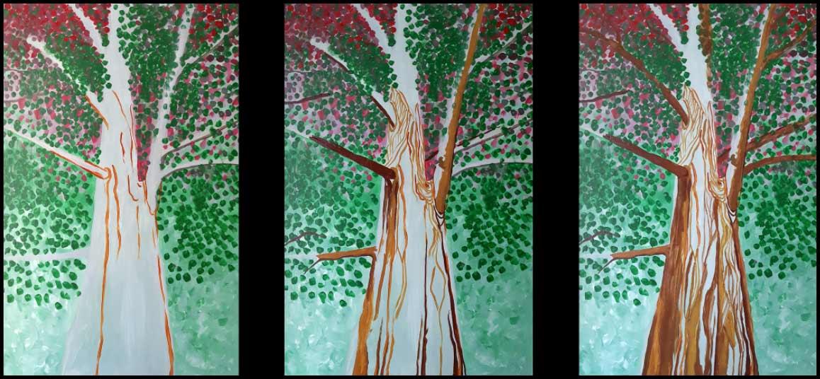 árbol lianas pintura