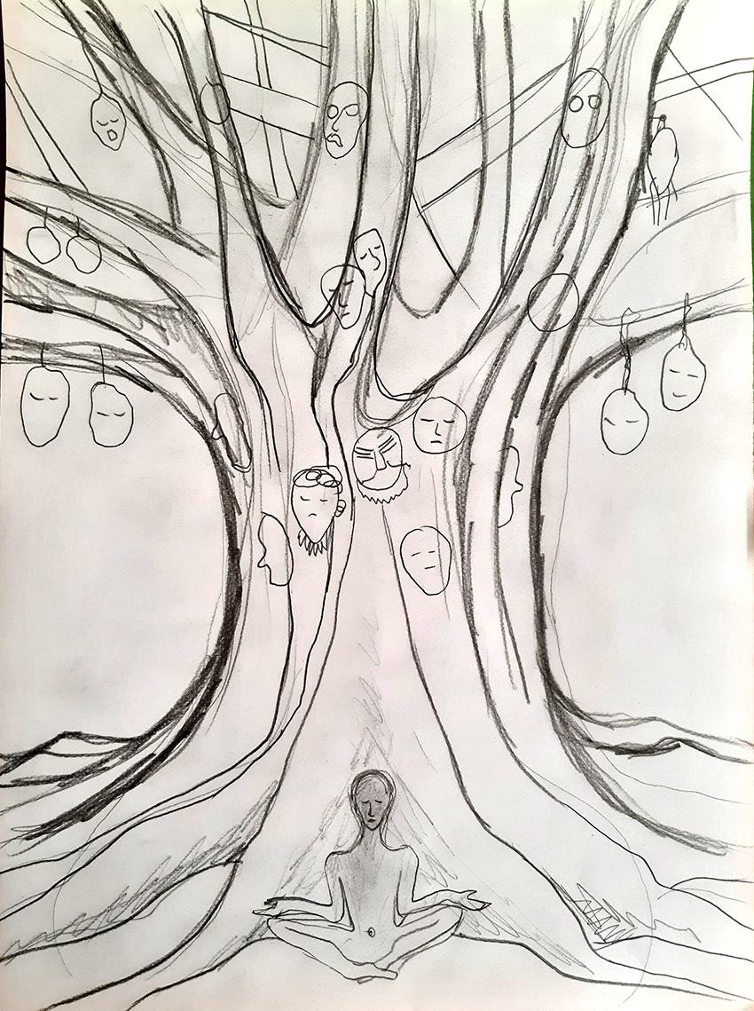 árbol Bodhi  dibujo