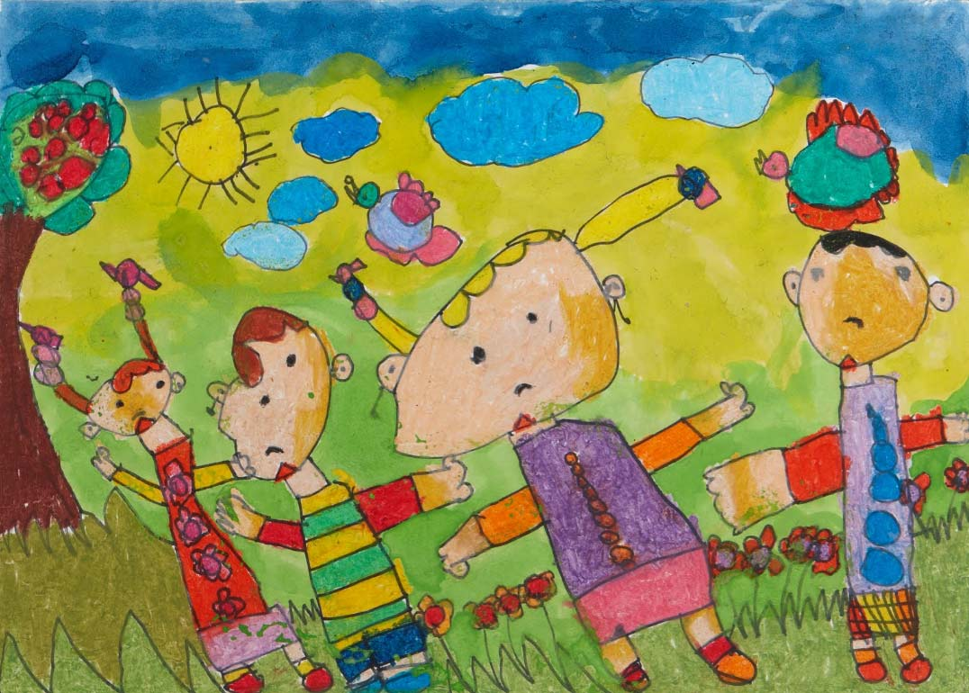 Pintura amigos, arte infantil