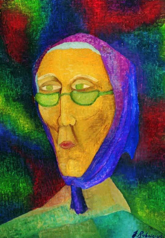 abuela pintada de colores vivos