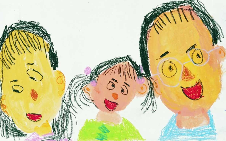 pintura infantil la familia