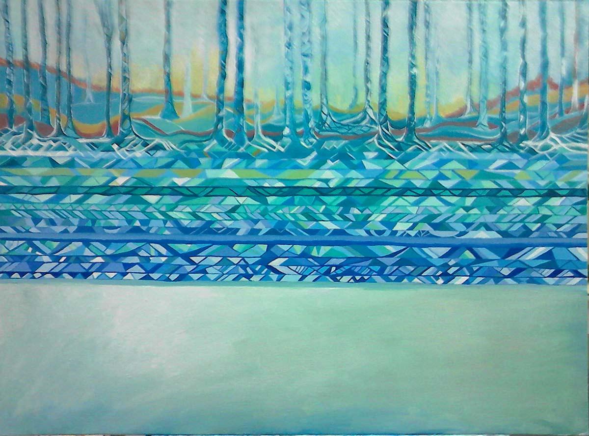 pintar árboles, agua y tierra