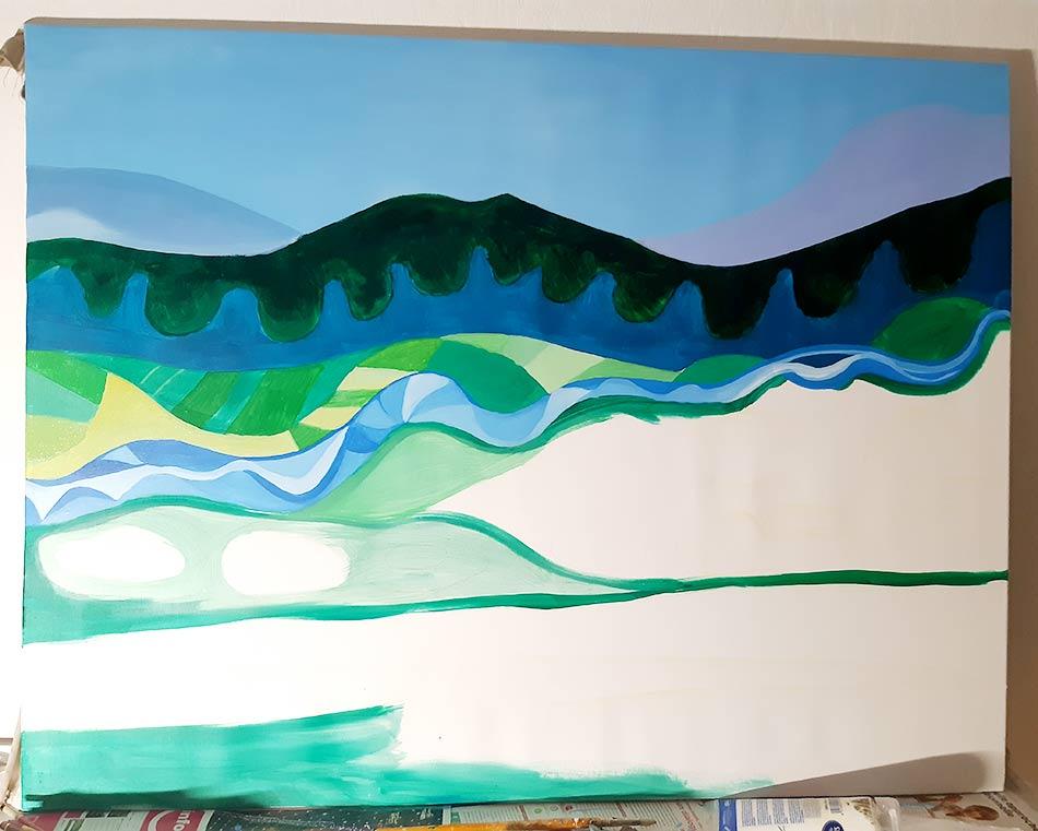 Dibujo sobre lienzo montañas