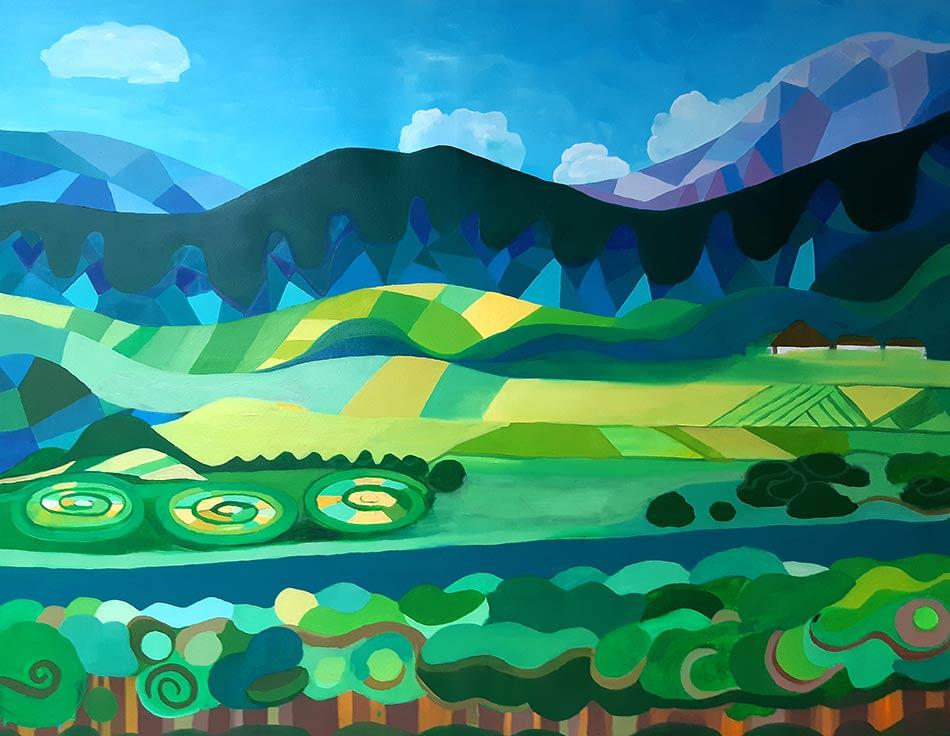 pintura óleo montañas verdes