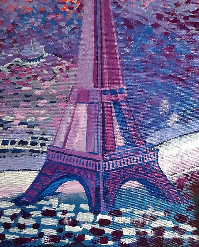 Dibujo de la torre Eiffel en una pintura
