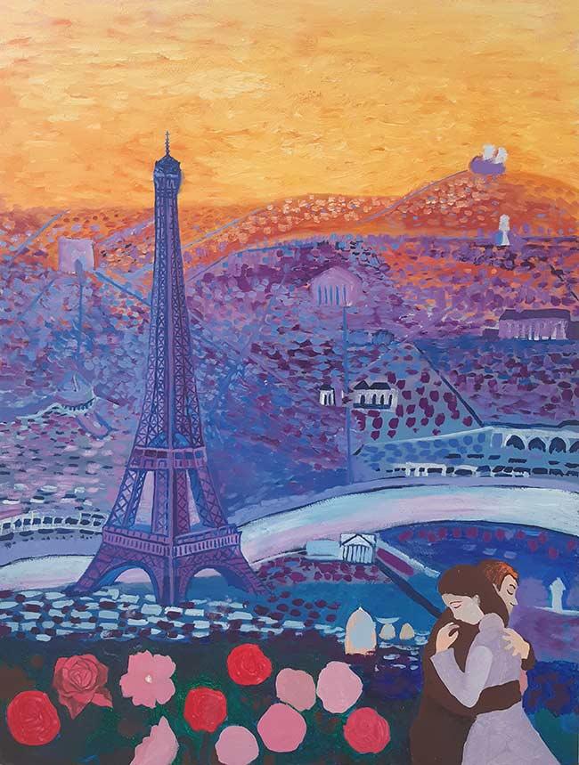 pintura de París al óleo