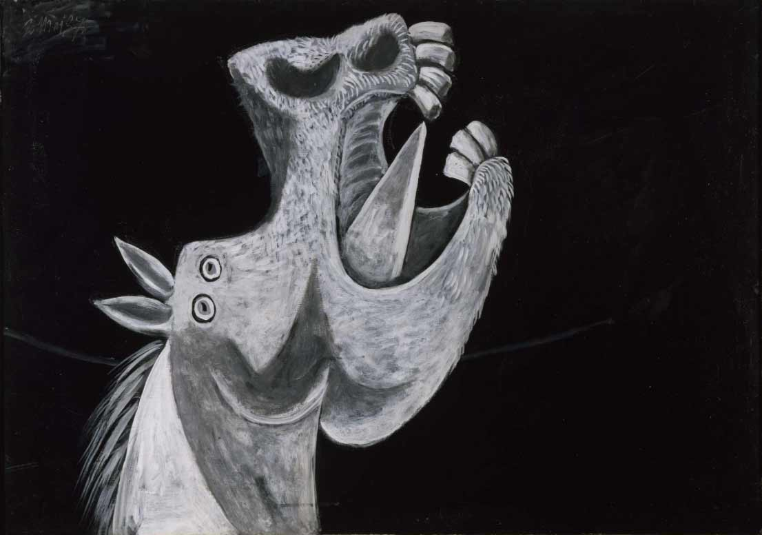 cabeza del caballo en terror