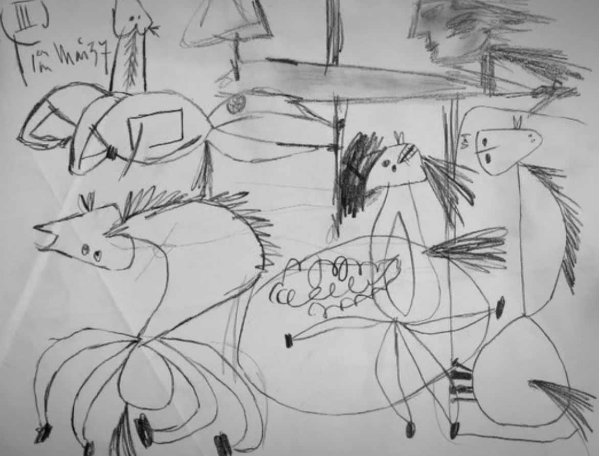 estudio dibujo del guernica picasso
